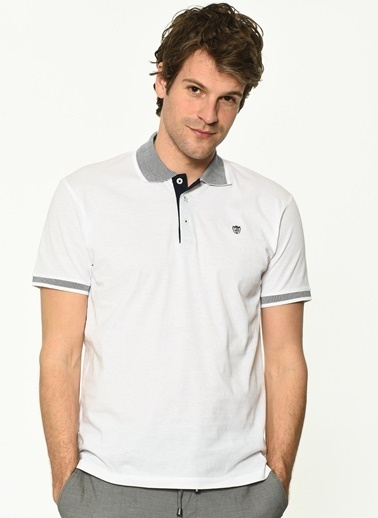George Hogg Erkek 7004662 Slim Fit Tshirt Beyaz